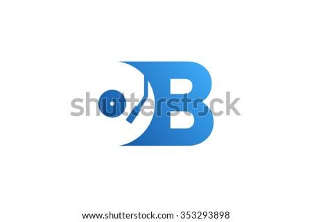 letter b logo  record vinyl