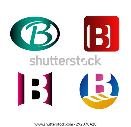 letter b logo template abstract icon