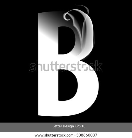 letter b with smoke waves
