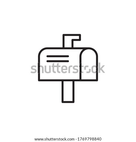 letter box icon outline design vector illustration black style. isolated on white background