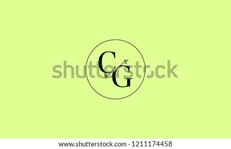 LETTER C AND G MONOGRAM LOGO WITH CIRCLE FRAME FOR LOGO DESIGN OR ILLUSTRATION USE Stock fotó ©