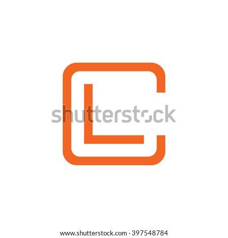 letter C and L monogram square shape logo orange Stock fotó ©