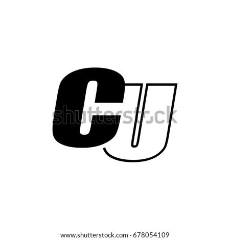 letter C and U logo overlapping black negative Foto stock ©