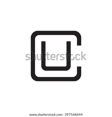 letter C and U monogram square shape logo black Foto stock ©