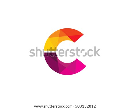letter c colorful poly overlay logo design template element