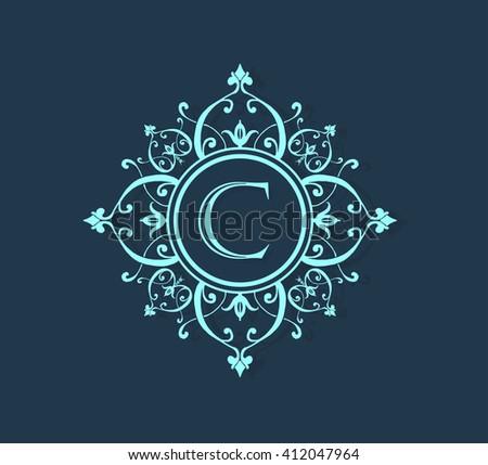 letter c floral monogram