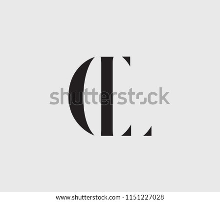 Letter C L Cl Lc With Cuts Abstract Alphabet Font Text