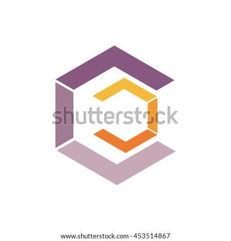 letter C logo icon design template elements. violet and orange color