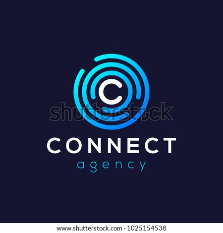Letter C Logo Icon Design Template. Technology Abstract Line Connection Circle Vector Logotype