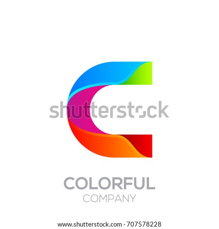 Letter C logotype made of stripes with Glossy colorful and gradient, Rainbow Vibrant Colors for your Corporate identity vector design template