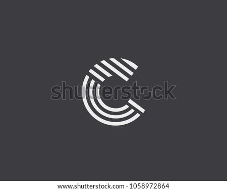 letter c vector line logo