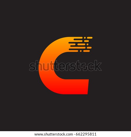 letter c with fast logo  speed