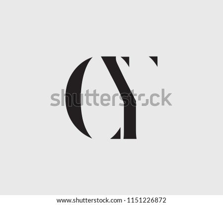 Letter C, Y, C Y, Y C with cuts abstract alphabet, font, text, typography, initials design in dark gray color with light gray background icon for logo