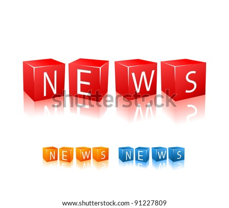 Letter cubes composed in word news. Vector illustration isolated on white background