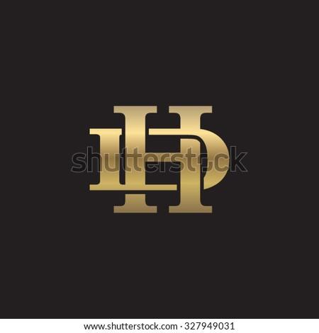 letter D and H monogram golden logo Stock fotó ©