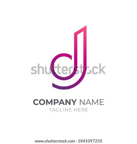 Letter d and letter j monogram logo with minimalist line concept Stock fotó ©