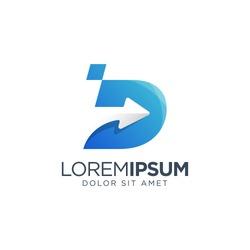 Letter D Arrow Logo Template