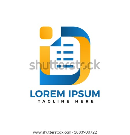 letter D documen and data logo design simple and flat concept for identity Zdjęcia stock ©