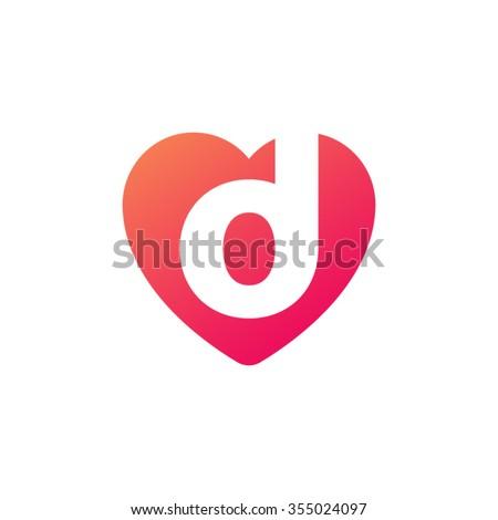 Letter D Heart Shape Icon Logo Orange Red Stock Vector ...