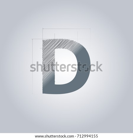 Letter D logo. Alphabet logotype architectural design. Grey color. Blueprint. With gradient. Concept design template.