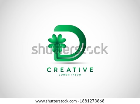 Letter D Lucky Clover Leaf Logo, lucky initials, a combination of leaf and letter. Foto stock ©