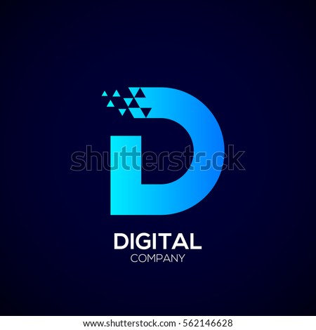 Letter D Pixel logo, Triangle, Blue color, Technology and digital logotype