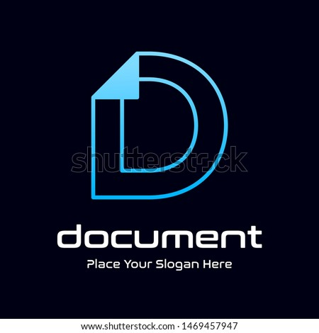 Letter D vector logo template with paper or page symbol. This alphabet suitable for office, data, administration. Zdjęcia stock ©