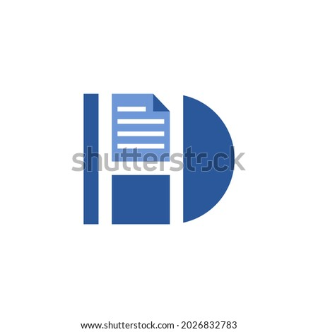 letter D with a letter H inside and document shape on the top, good for document organizer apps Zdjęcia stock ©