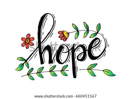 letter design- hope with floral