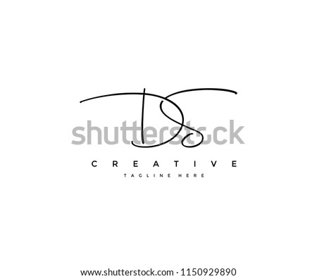 Letter DS Signature Minimal Manual Logotype Zdjęcia stock ©