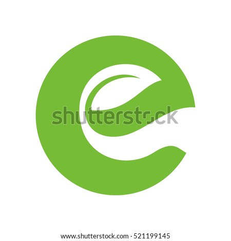 letter e and leaf logo vector