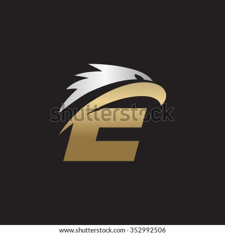 letter e eagle head silver gold