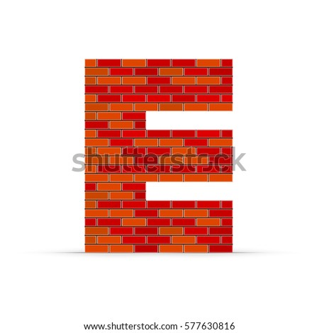 letter e from red brick wall