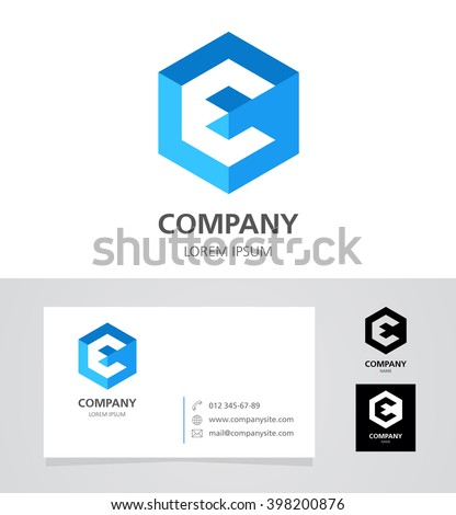 Letter E - Logo Design Element with Business Card - illustration  Vector Logotype Template