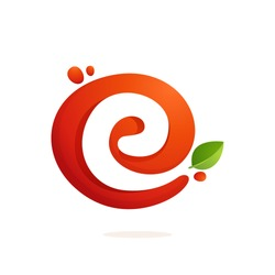 Letter E logo in fresh juice splash with green leaves. Vector elements for natural application, ecology presentation, business card or cafe posters.