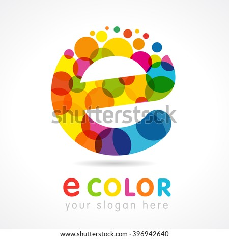 Letter E logotype. Isolated colour emblem. Stained glass colores graphic template. Bubbles with multicolored bunch. Corporate soft branding identity. creative mosaic texture, trendy e-leaning label.