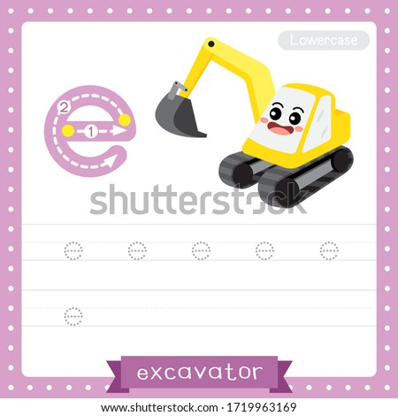 Letter E lowercase cute children colorful transportations ABC alphabet tracing practice worksheet of Excavator for kids learning English vocabulary and handwriting Vector Illustration. Zdjęcia stock ©