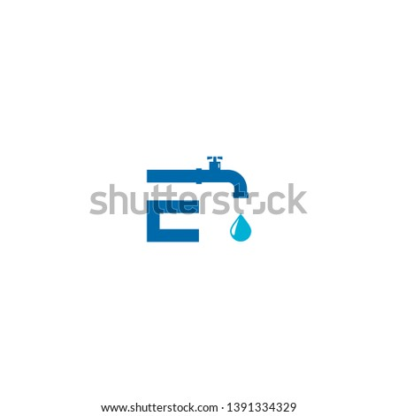 letter e pipe icon logo design
