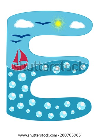 Royalty free letter k sea summer wavy alphabet 280706033 stock letter e sea summer wavy alphabet vector illustration nautical wavy lines uppercase font abc letter in altavistaventures Image collections