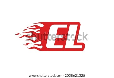 Letter EL or E L fire logo vector illustration. Speed flame icon for your project, company or application. Stock fotó ©