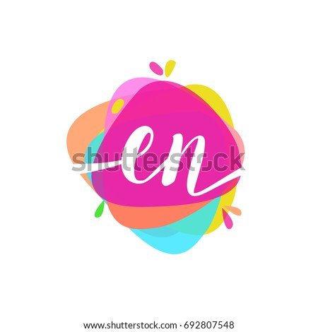 letter en logo with colorful