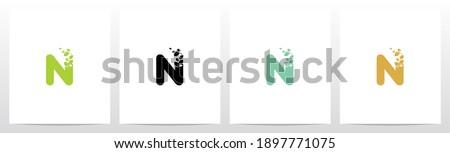 Letter Eroded Into Leaf Letter Logo Design N Stock fotó ©