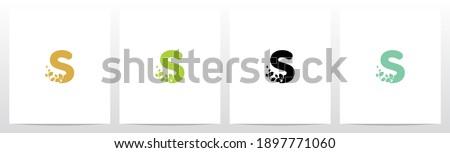 Letter Eroded Into Leaf Letter Logo Design S Foto stock ©