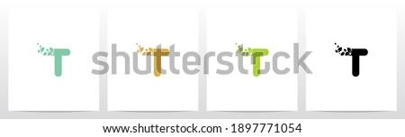 Letter Eroded Into Leaf Letter Logo Design T Foto stock ©