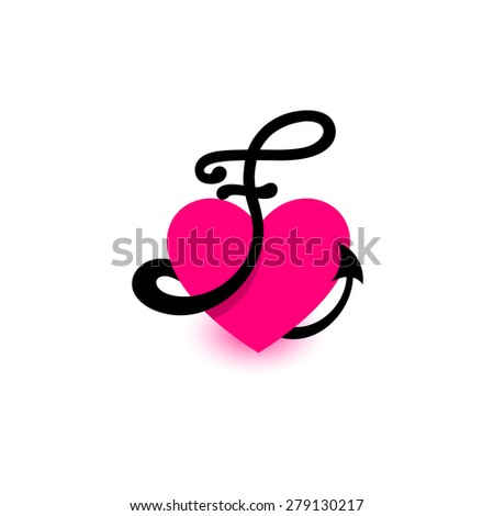 Royalty free logo heart letter fautiful vector 258853757 stock letter f heart beautiful vector love logo the symbol of the union passion altavistaventures Image collections
