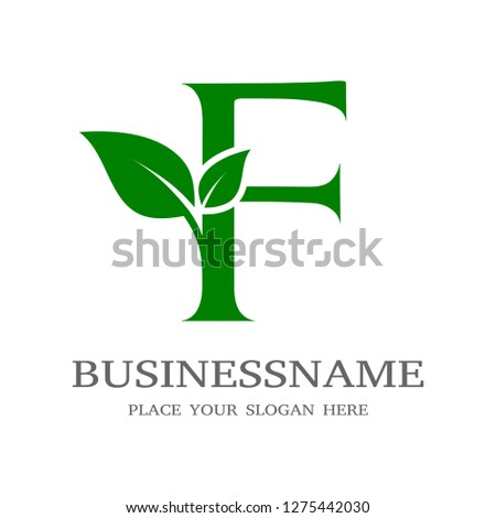 Letter F Initial natural vector logo template. Design with leaf and green color.