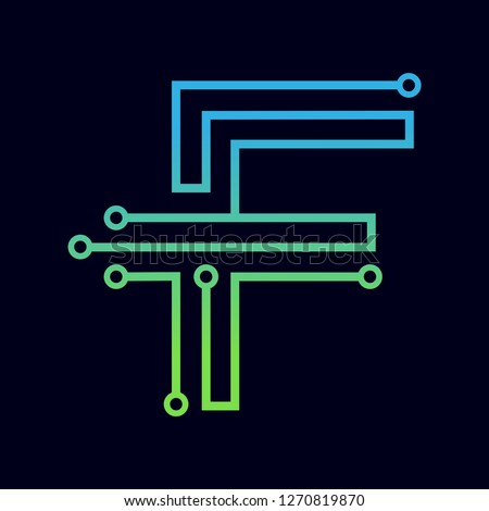 Letter F logo design template,Technology abstract dot connection cross vector logo icon circle logotype. Graphic is suitable for technology, digital, sharp, dot, electric. Gradient blue and green. ストックフォト ©