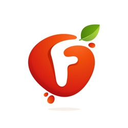 Letter F logo in fresh juice splash with green leaves. Vector elements for natural application, ecology presentation, business card or cafe posters.