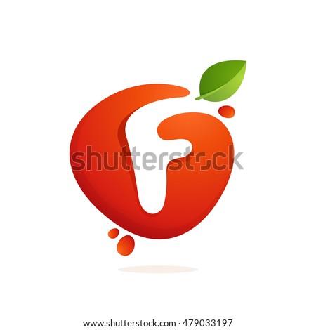 letter f logo in fresh juice
