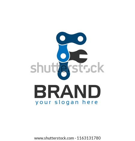 Letter F, Logo Letter F with chain and wrench. logo formed by chain and wrench